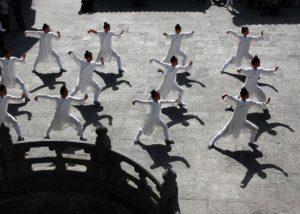 students practise taiji in china